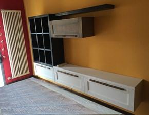 soggiorno GRACE  in legno vintage white chic  e bambu black  in offerta convenienza outlet nuovimondi