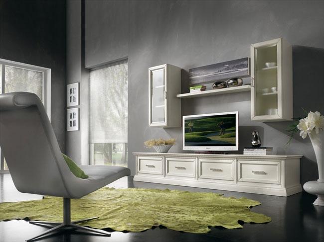 Soggiorno living in legno finiture personalizzabili - Mobili classici moderni ...