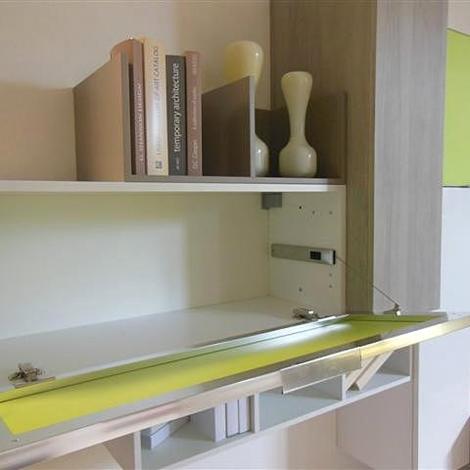 mobile tv lube : Soggiorno sospeso Lube in finitura bianco lucido, vetro laccato verde ...