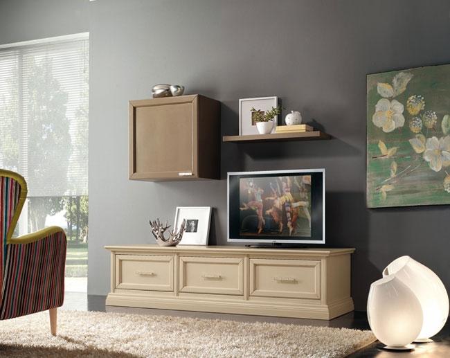 Soggiorno mobile porta tv in legno style classico for Mobile parete tv
