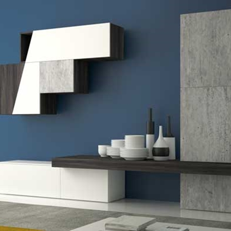 Soggiorno Diagonal Laminato Materico Pareti attrezzate Design ...