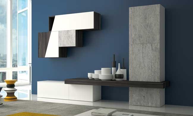 soggiorno diagonal laminato materico pareti attrezzate