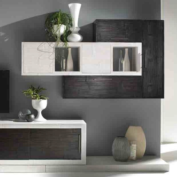 soggiorno moderno etncio con basi e pensili in legno e crash bambu - Soggiorni a prezzi scontati