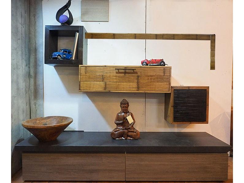 soggiorno moderno etnico in legno e crash bambu miele in offerta ...