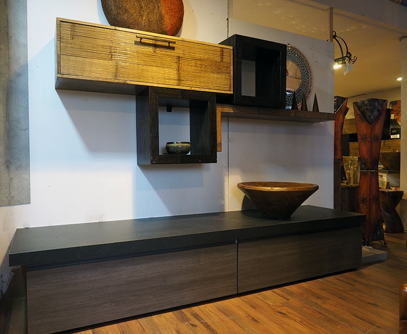Soggiorno moderno in legno e crash bambu in offerta for Arredamento soggiorno moderno in legno
