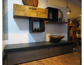 soggiorno parete moderna  in legno etnico e crash bambu essential bortoli