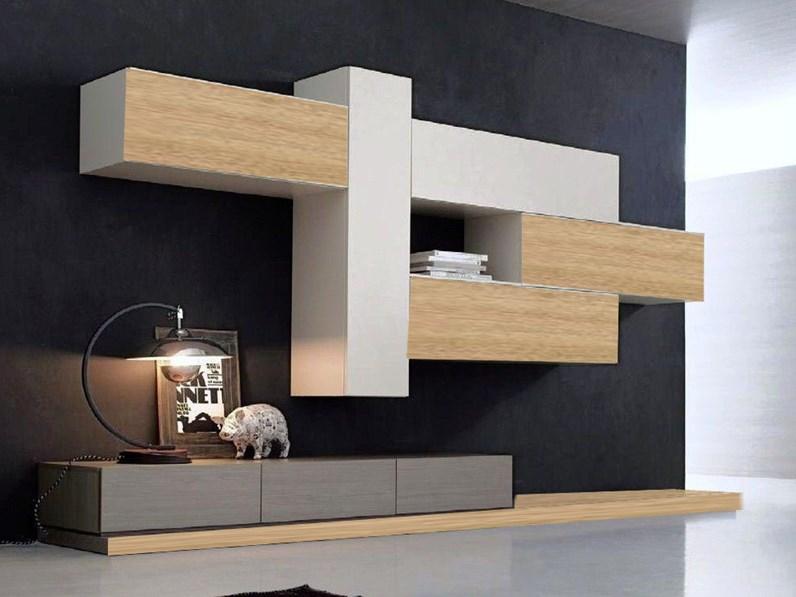 soggiorno moderno minimal rovere e grey in offerta - Soggiorni a ...