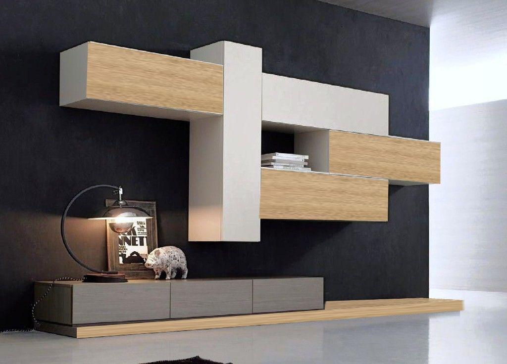 soggiorno moderno minimal rovere e grey in offerta - Soggiorni a prezzi scontati