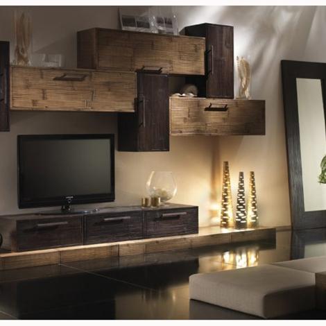 Soggiorno modulare in legno bambu in offerta outlet for Arredamento bambu