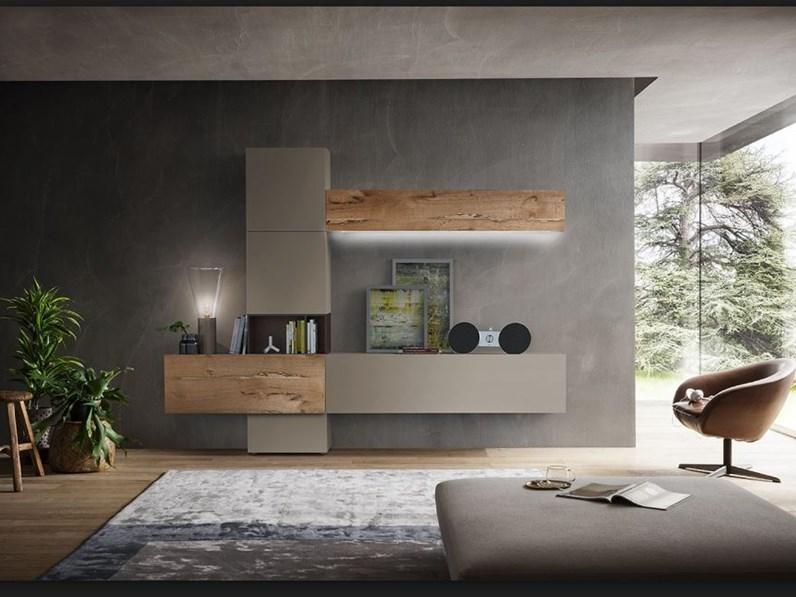 Soggiorno napol laccato opaco e legno briccola prezzo for Mobili contenitori soggiorno moderni