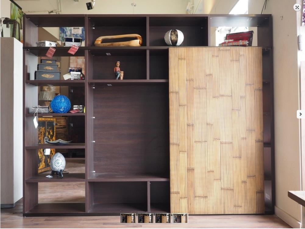 Soggiorno nuovi mondi cucine parete libreria in essenza for Libreria soggiorno design