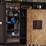 parete libreria in essenza wenge' e porta scorrevole  in legno e bambu miele e noce design zen moderno