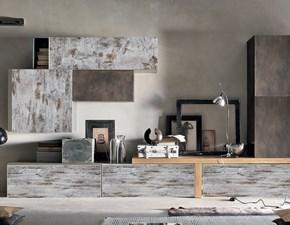 parete soggiorno moderno lineare vintage e seta bronzo con top essenza olmo nature