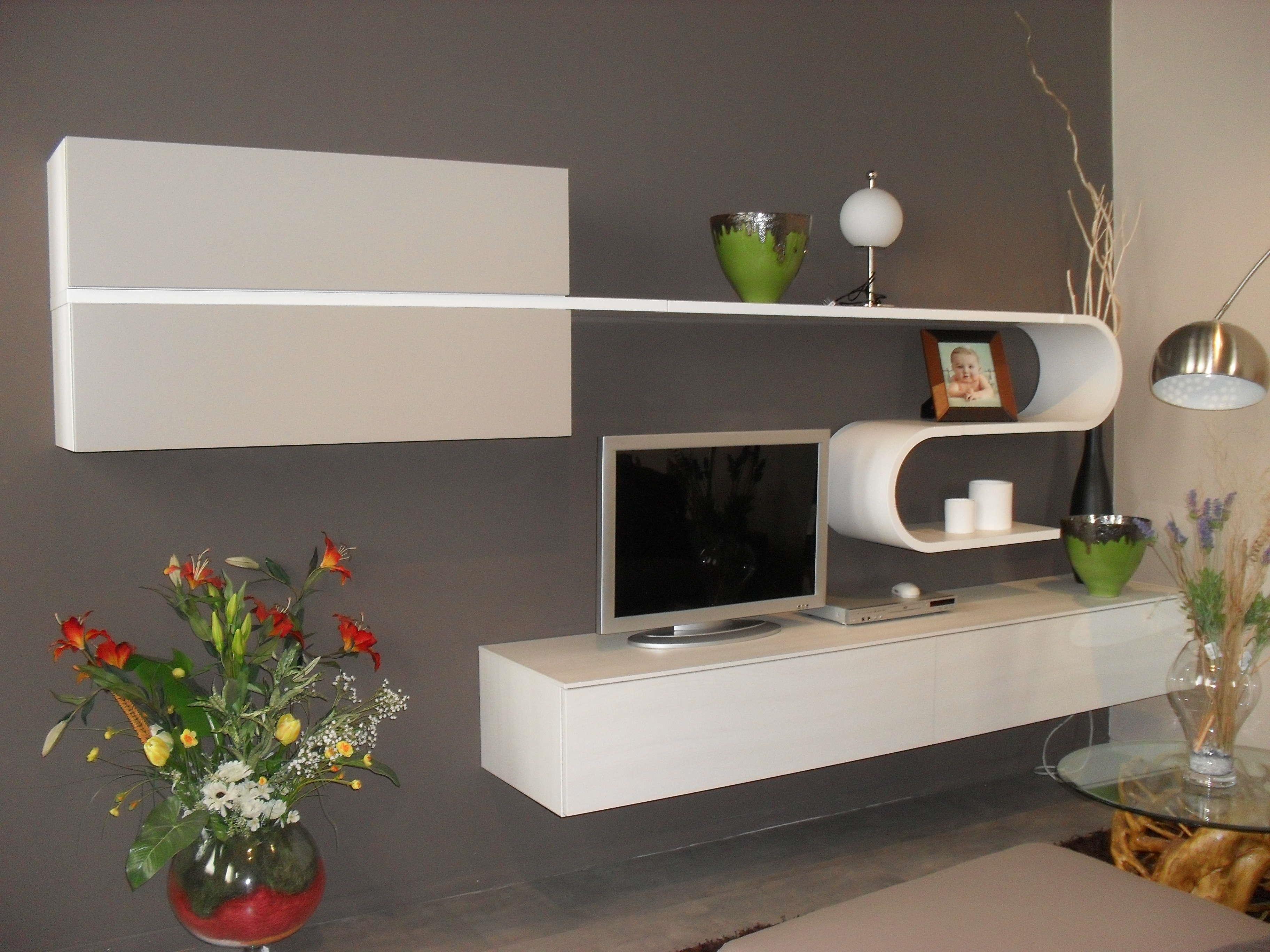 Soggiorno olmo grigio for Mensola laccata bianca
