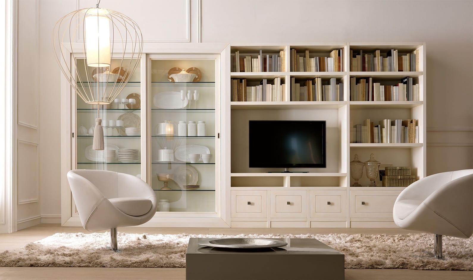 Pacema soggiorno soggiorno bianco anticato pennellato for Mobile soggiorno bianco
