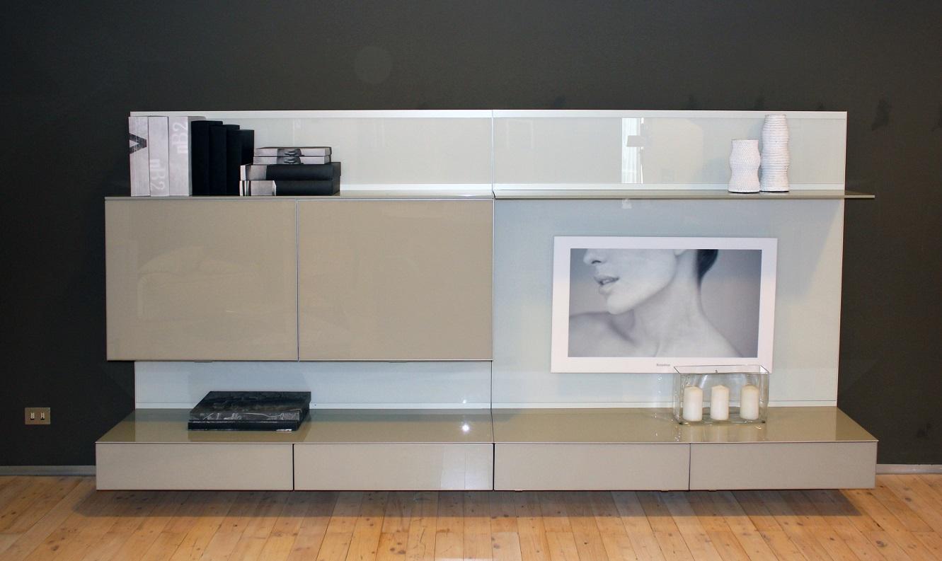 Soggiorno rimadesio abacus vetro pareti attrezzate design for Prezzi pareti attrezzate