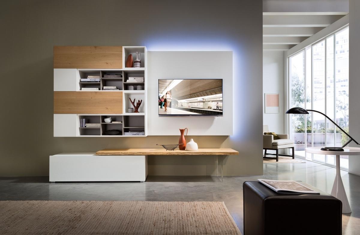 Soggiorno rovere naturale con led soggiorni a prezzi for Mobili da soggiorno moderni