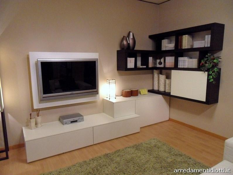 Soggiorno side system con porta tv scontato for Mobili soggiorno angolari moderni