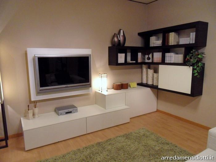 Soggiorno side system con porta tv scontato soggiorni a - Mobili soggiorno angolari ...