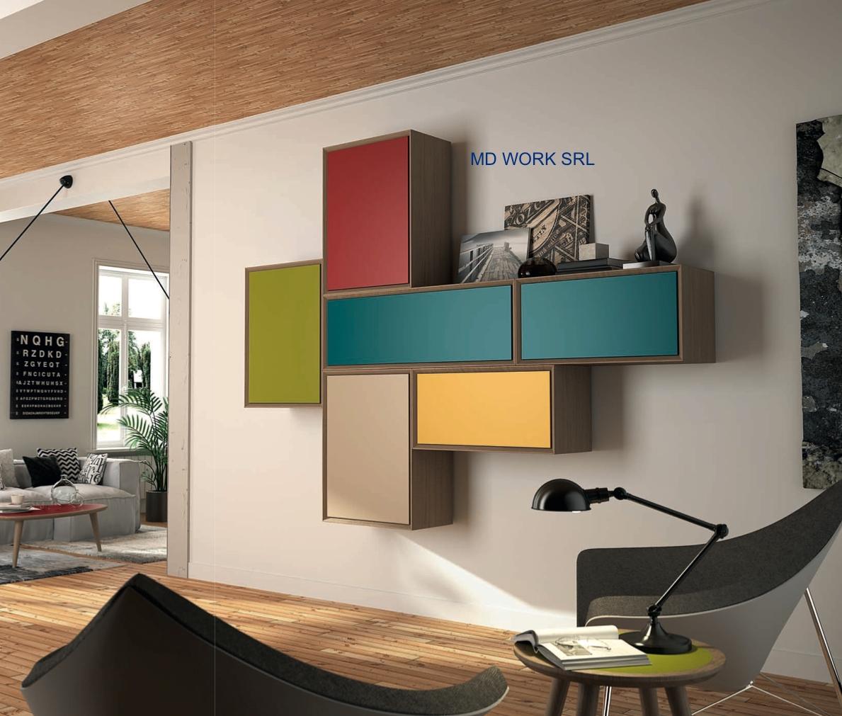 Soggiorno soggiorno tetris legno pareti attrezzate design for Soggiorno legno