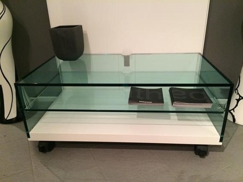 Tonelli Lighterie carrello porta TV in vetro + pannello con mensole luce