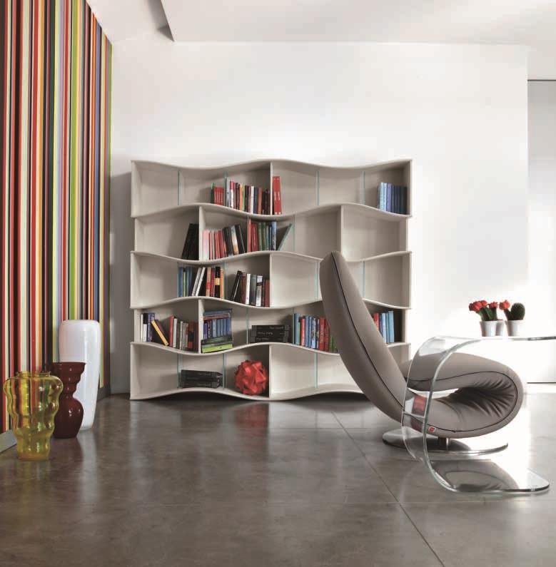 Tonin casa soggiorno onda laccato opaco librerie design for Librerie design outlet