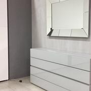 mobile Ingresso o Camera a Quattro cassetti L=170 cm. in vetro LUCIDO colore cenere profondita cm.34-VENERAN