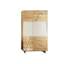 Credenza vetrina 2 ante in legno massello rovere e vetro scontato del -46%