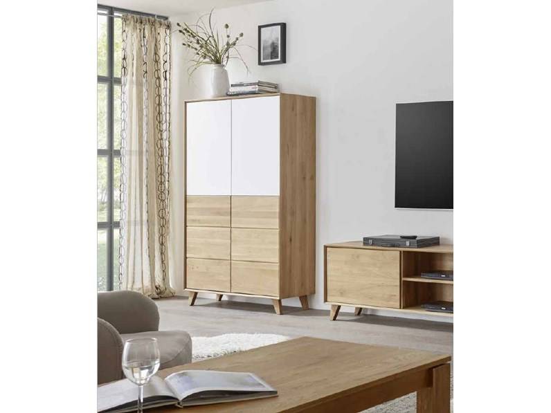 Credenza Moderna In Vetro : Credenza vetrina ante legno vetro bianco scontato