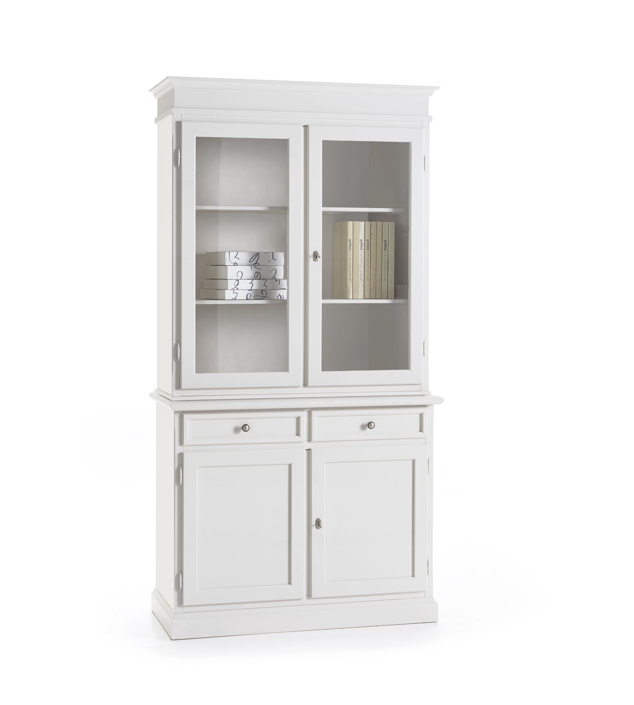 Vetrina in legno bianca stile classico - Soggiorni a prezzi scontati