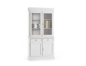 Credenza a due ante con vetrinetta in legno bianco