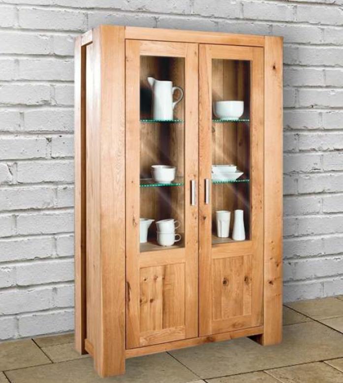 Vetrina a 2 ante in legno massello di rovere - Soggiorni a prezzi ...