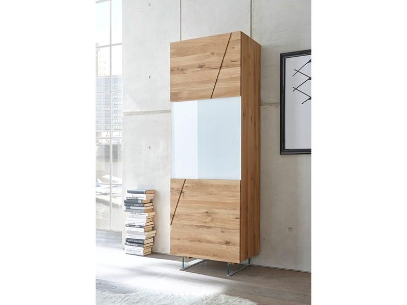 Madia moderna cucina soggiorno legno rovere scontata 46 for Vetrinetta moderna