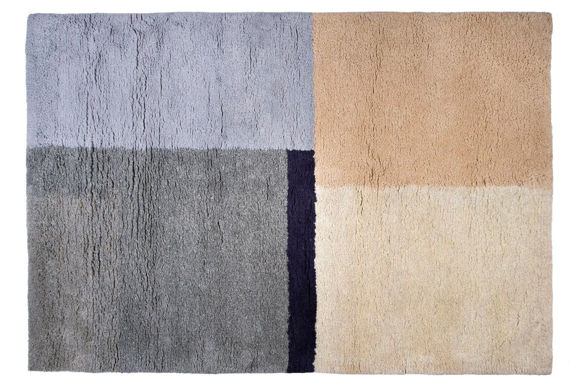 Tappeto artigianale da salotto e ufficio modello mondrian 170x240cm in 100 lana merinos - Tappeti in lana moderni ...