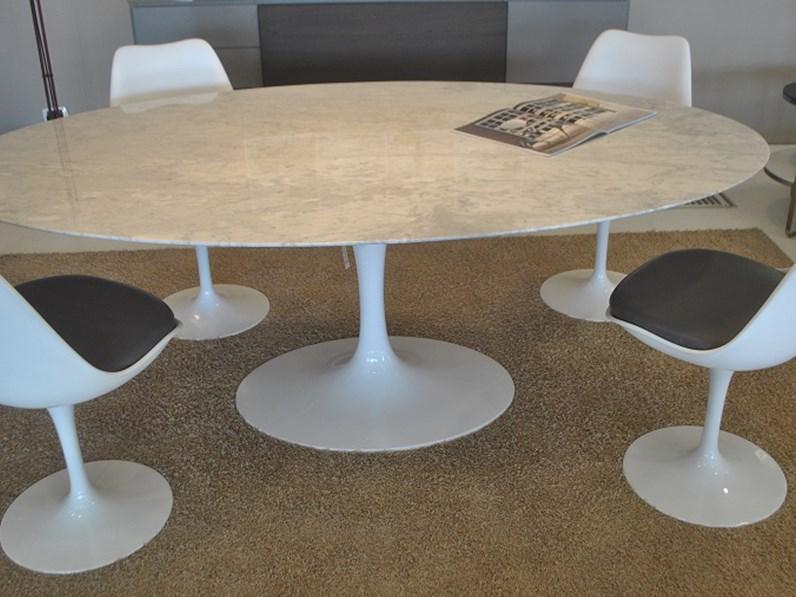 Tavolo ovale alivar e. saarinen marmo bianco michelangelo scontato ...