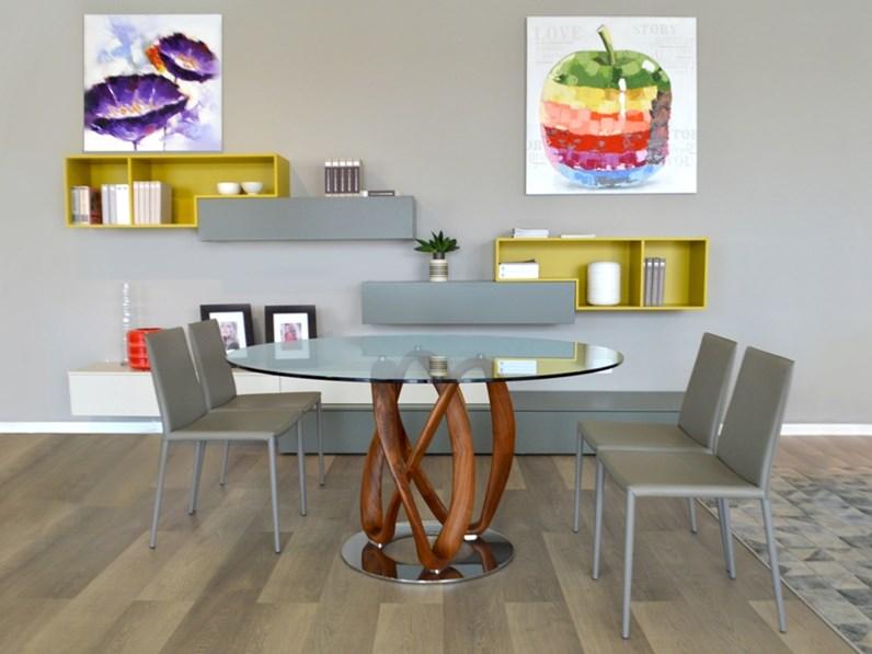 Tavoli Di Vetro E Legno : Arredamenti chianese tavolo porada infinity vetro e legno noce