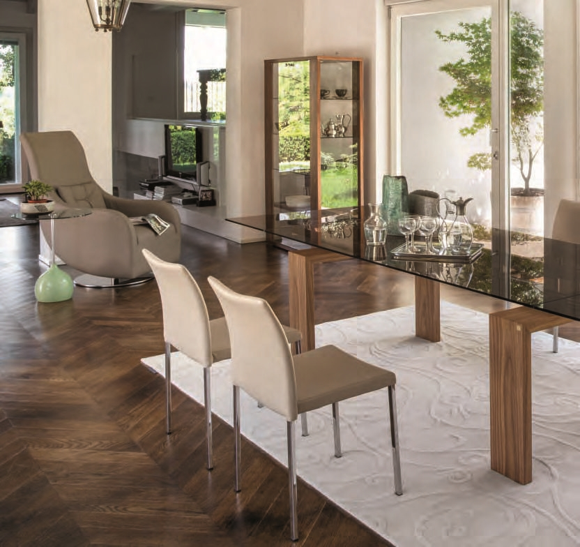 Brooklyn 8000 tavolo della tonin casa in cristallo legno for Tavolo cristallo e legno