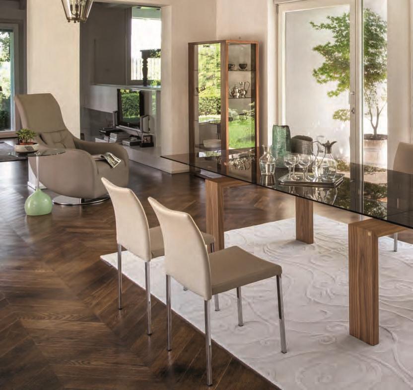 Brooklyn 8000 tavolo della tonin casa in cristallo legno for Tavolo cristallo prezzi