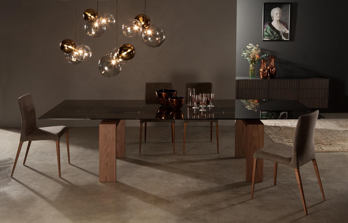 Tavolo Allungabile Vetro Moderno Brooklyn : Brooklyn tavolo in vetro fumè allungabile tavoli a