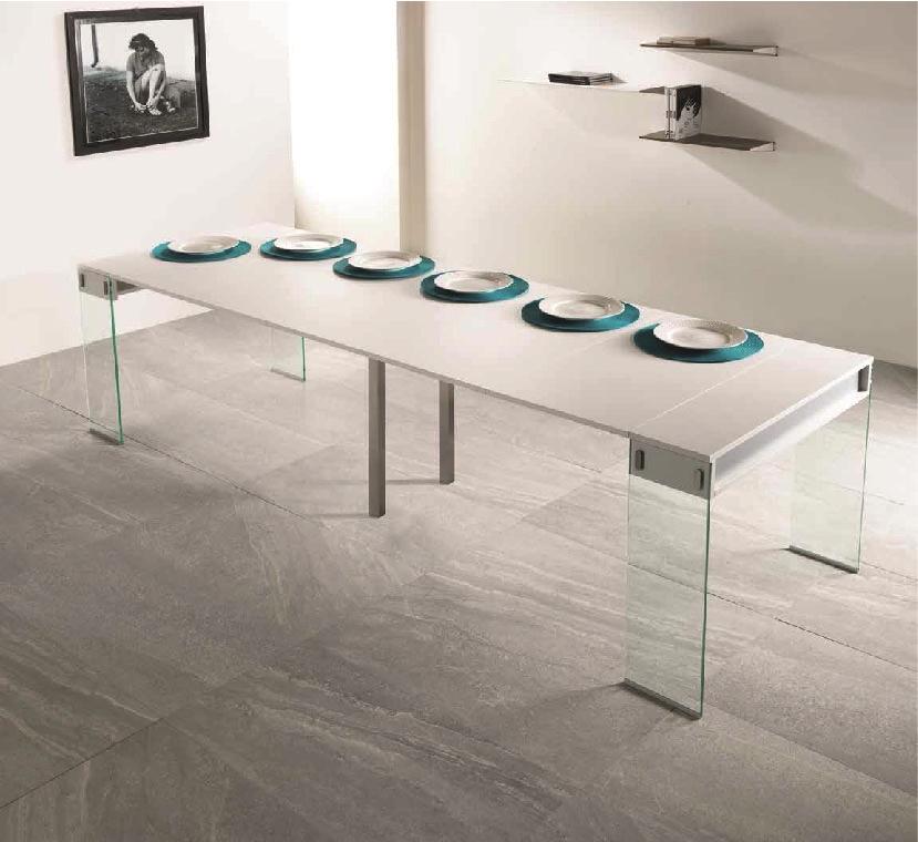 Consolle allungabile pezzani modello city gambe vetro tavoli a prezzi scontati - Tavolo a consolle allungabile ...