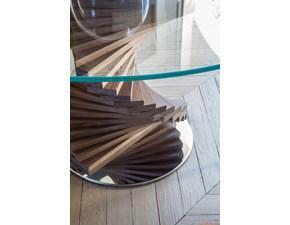 Tavolo rotondo in vetro basamento in legno noce canaletto