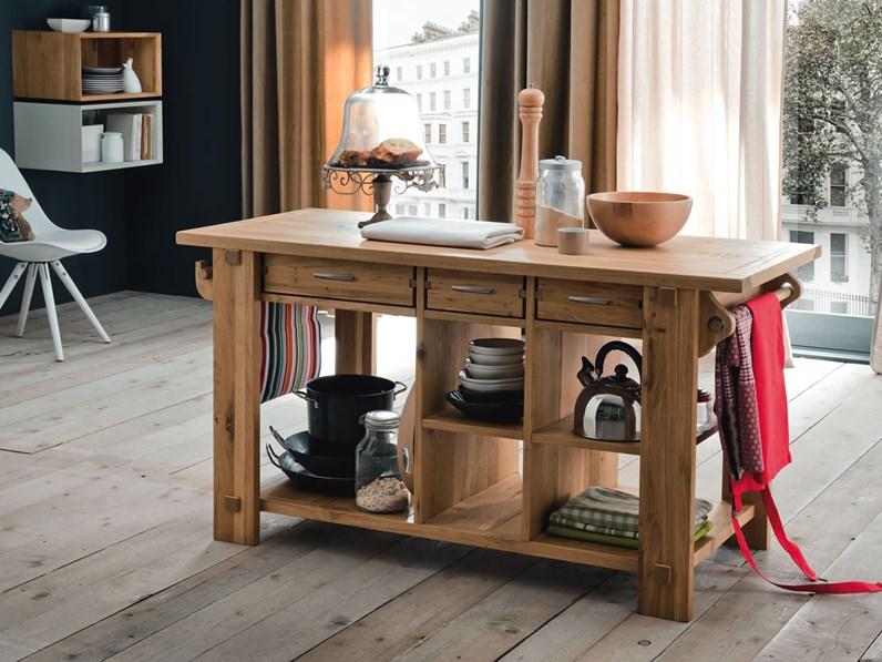 Isola cucina in rovere massello for Tavoli per cucina in legno