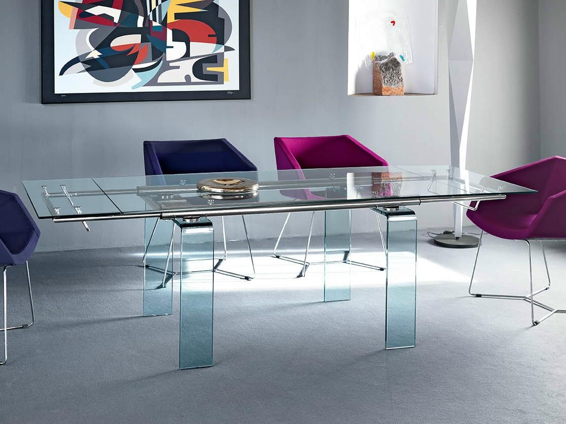 Midj tavolo mambo r rettangolare allungabile in vetro for Tavolo allungabile vetro trasparente