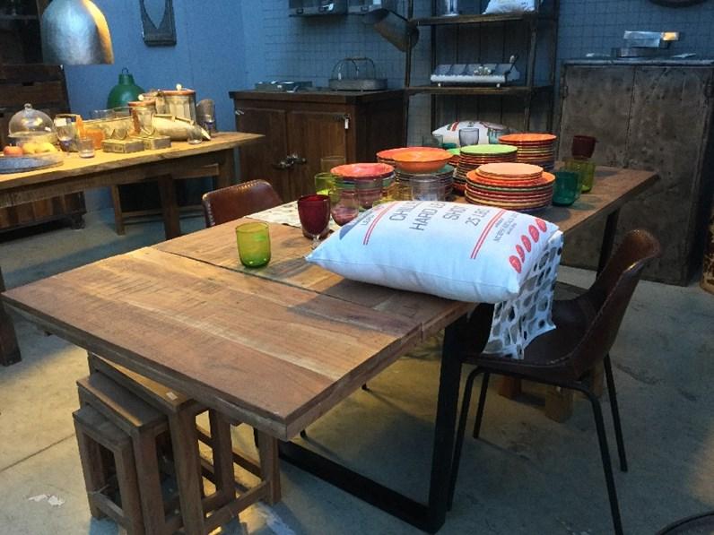 Nuovi Mondi Cucine Tavolo Tavolo industriale in legno massello india ...