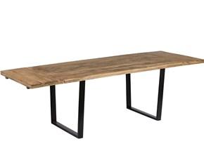 tavolo industry in legno massello india con prolunghe esterne a baionetta da cm 40 allungato a totale da cm 160 x 90  a cm 240