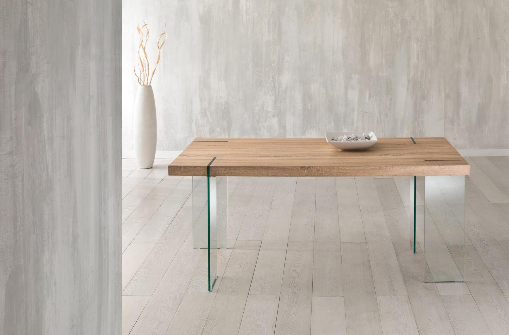 Offerta unica tavolo con gambe in vetro e piano in mdf for Tavoli in vetro e legno