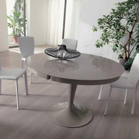 Ozzio tavolo eclipse rotondo allungabile in vetro tavoli for Tavolo rotondo allungabile cristallo