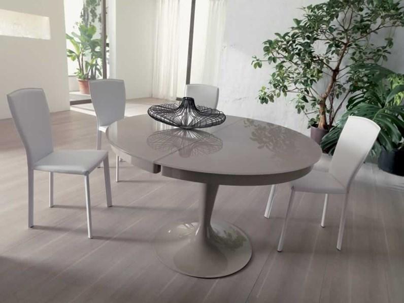 Ozzio tavolo eclipse rotondo allungabile in vetro for Tavoli rotondi moderni allungabili