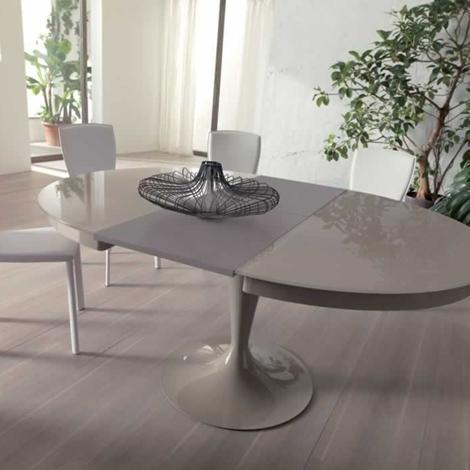 Ozzio tavolo eclipse rotondo allungabile in vetro tavoli - Tavolo rotondo allungabile bianco ...