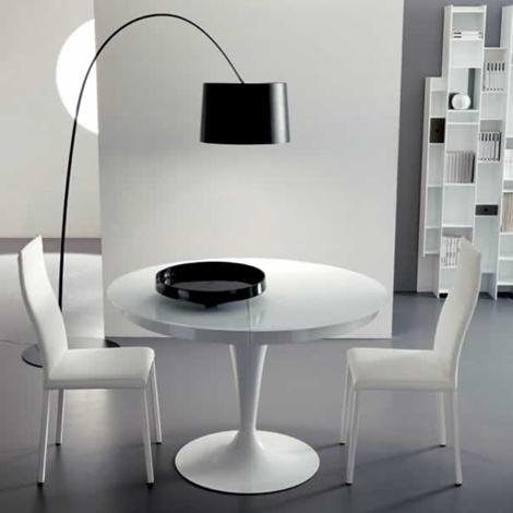 Ozzio tavolo eclipse rotondo allungabile in vetro tavoli for Arredamento tavoli moderni